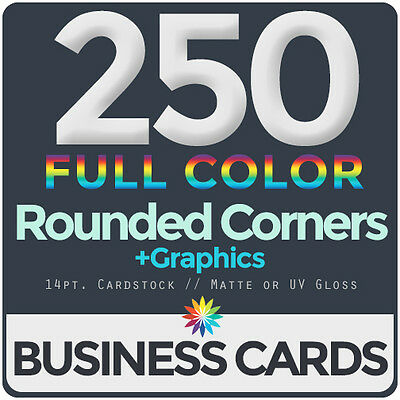 250 Full Color Business Cards BothSides ROUNDED CORNERS, FREE DESIGN & SHIPPING