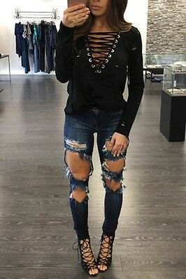 USA New Women Summer Lace Up Shirt Casual Blouse Tops Lady Loose T Shirt L QY17