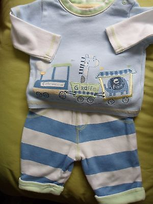Boys George Train Motif Outfit Blue and White Size 0-3 Months