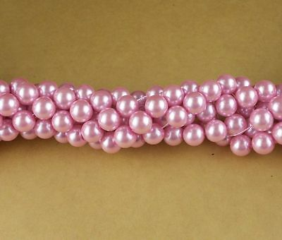 100 Pcs 6mm Pink color Glass Pearl Czech Round Loose Beads ~ DIY Jewelry