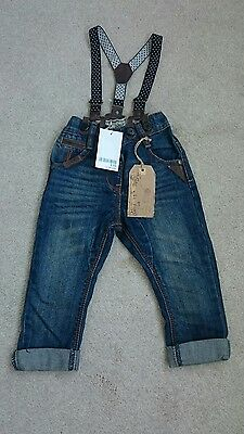 Bnwt Baby toddler boys girls NEXT Jeans with Braces 12-18 Months Age 1 Year New