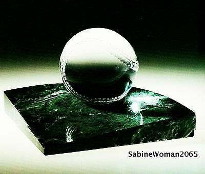 NEW in BOX STEUBEN glass HOME RUN BASEBALL paperweight marble base field dreams