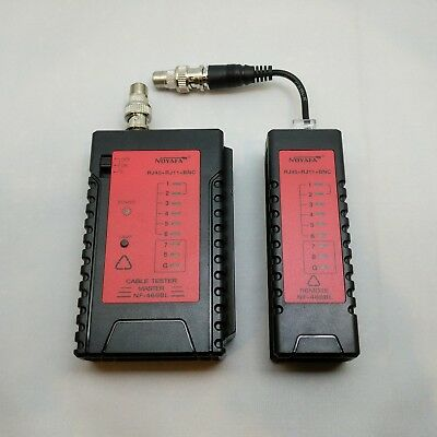 NF-468 Cable Tester for F-type coaxial, BNC, RJ11, & RJ45 Ethernet cables