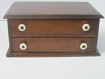 Vintage Antique Small 2 Drawer Table Top Sewing Or Needle Cabinet