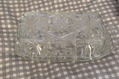 2 pc. VINTAGE CLEAR CUT GLASS BUTTER DISH w/ COVER