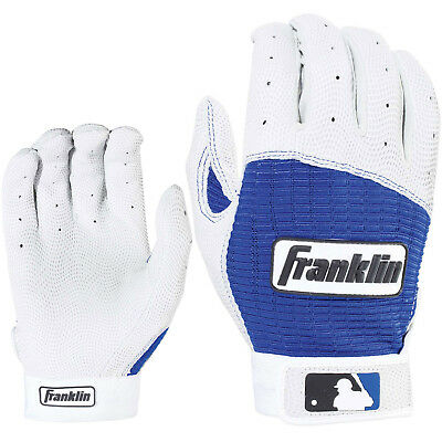 Franklin Pro Classic Adult Baseball/Softball Batting Gloves - Pearl/Royal - XL