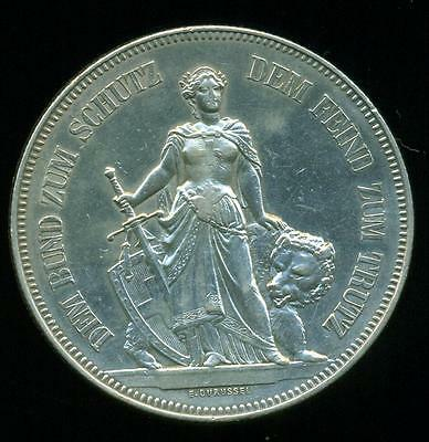 Switzerland Bern 1885 Silver Coin 5 Frans Shooting Festival Km# 17 Nice Grade