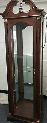 Antique Wood and Glass Curio/Display Cabinet with Glass Door and 4 shelves