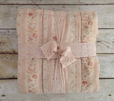 Antique French Pink Floral Quilt Circa 1920