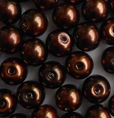 50Pcs 8mm Chocolate Glass Round Pearl Spacer Loose Beads Jewelry Making