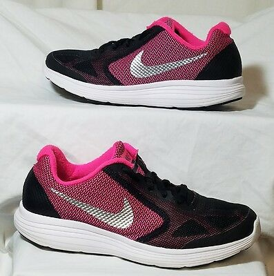 NIKE REOLUTION 3 Girls/Youth Black Pink Athletic/Casual Shoes Size 4Y