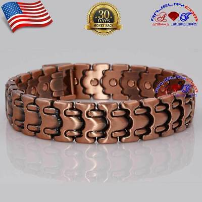 26 Magnets Chunky Sturdy Copper Magnetic Link Bracelet Men Arthritis Pain Hd40V