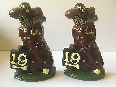 Vintage Cast Iron Metal Decorative Painted Golf Bag Bookends 19Th Hole Burgundy