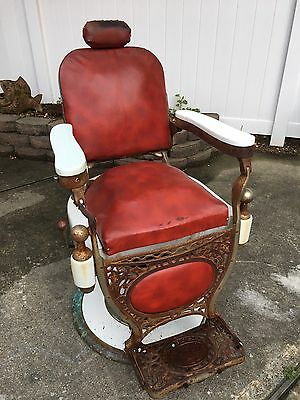 Theo A Kochs Barber Chair Original Antique Vintage Porcelain Chicago Red Leather