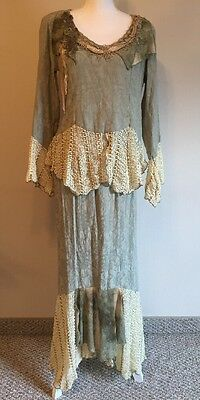 Spencer Alexis 2 Piece Skirt Blouse Set Size 6 Green Ivory Lace Floral Victorian