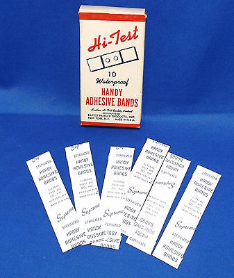 vtg Hi-Test Premier Products Handy Adhesive Bands Band-Aid Box Bandages Contents