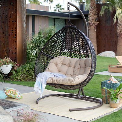 Mid Century Rattan Chair, Outdoor 2 Person Hanging Egg Swing Chair Stand Wicker Patio Garden Furniture 630 00 Picclick