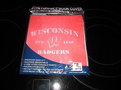 Wisconsin Badgers Stretchable Book Cover New With Free Shipping@@@@