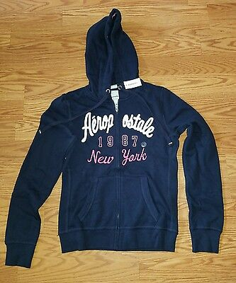 Aeropostale womens full-zip hoodie size medium, blue pink white new with tags