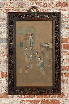 18th c. Chinese Silk Scroll Painting w/carved Rosewood Frame -Rare