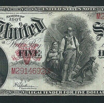 1907 $5 Us Note <<< Woodchoper >>> Decent Grade  <<< Pcblic Error >>>