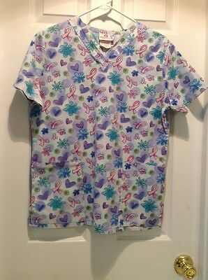 Women's Pink Ribbon Uniform Scrub Top Size Small