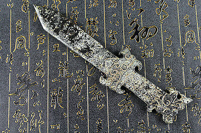Chinese collection hand carved dragon head design old jade sword 7243