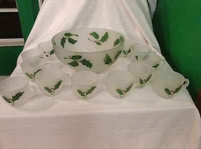 Vintage Federal Glass 13 Pc Frosted Glass Christmas Holly & Berry Punch Bowl Set