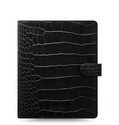 Filofax Classic Croc A5 Size Organizer/Planner Ebony Color Leather  026071