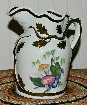 Beautiful Staffordshire Luster Pitcher Leaves Branches Hand Painted Flowers 8""