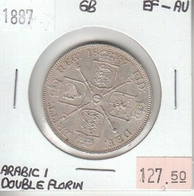 Great Britain / United Kingdom Double Florin 1887 Silver XF Extra Fine Arabic I
