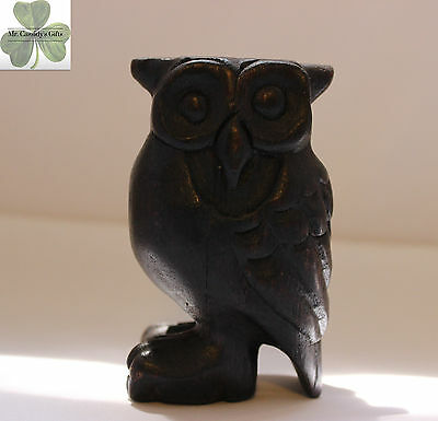 """Owl, wooden musical hooting owl, dark brown, hand carved, 4"""" tall, SALE! No Hoo!"""