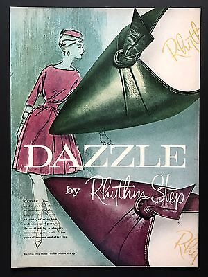 1961 Vintage Print Ad DAZZLE By RHYTHM STEP Woman's Shoe Foot Fashion Art