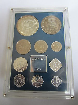 INDIA Republic 1977 Proof Set (10) coins Original Packing with COA
