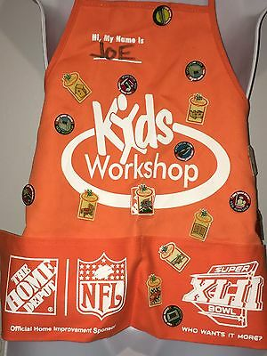 Home Depot Children's Workshop NFL Super Bowl XLII Apron With Pins