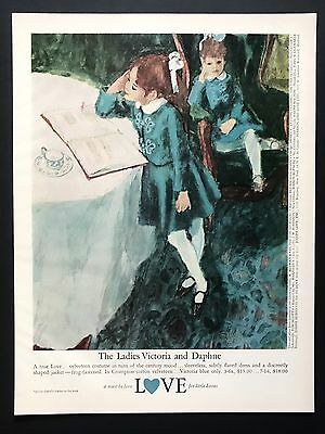 1961 Vintage Print Ad LOVE Kid'Fashion Illustration Art Green Dress Style