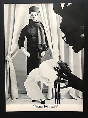 1961 Vintage Print Ad SEYMOUR FOX PRESENTS Woman's Fashion Coat Scarf Hat