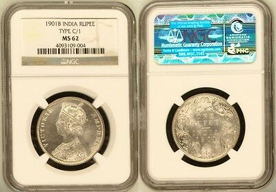 British India Empress Victoria 1901 (B) Rupee C/1 NGC MS-62 Silver Coin