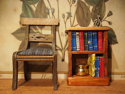 Vintage Dollhouse Furniture Miniature Bookshelf and Chair
