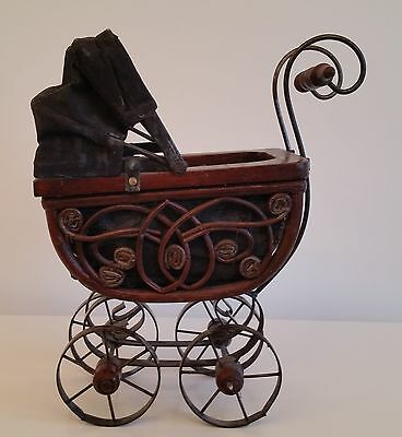Miniature Baby Carriage Buggy Vintage Ornate Metal & Wood Potpourri Decoration
