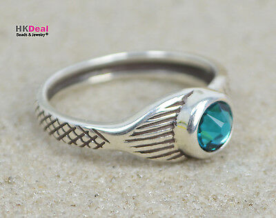 H2O Just Add Water Mako Mermaid Tail Moon Ring Sterling Crystal Blue Zircon