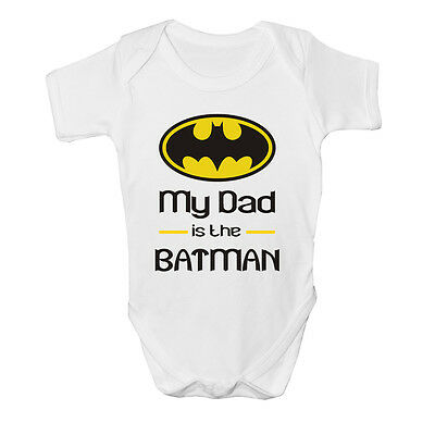 My Dad Is The Batman Baby Vest Grow Funny Bodysuit Top Size Boys Girls Gift New