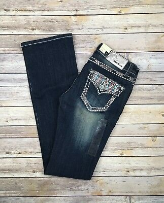 GRACE IN LA BOOT JEANS Low Rise Embellished Flap Bootcut Jean 25 26 27 29 30 NWT