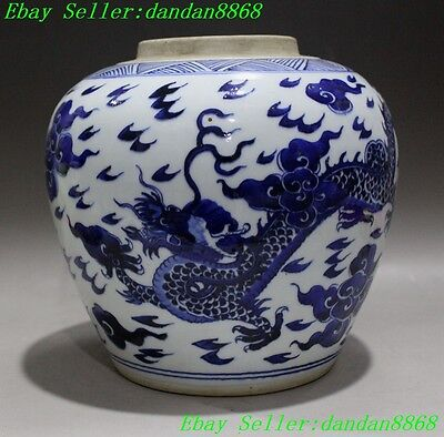 """9"""" Old Chinese Blue and white porcelain dragon beast statue pot tanks bottle jar"""