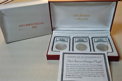 1923 Silver Peace Dollars - NGC MS63, MS64, & MS65 - 3 Coin Binion Prestige Set