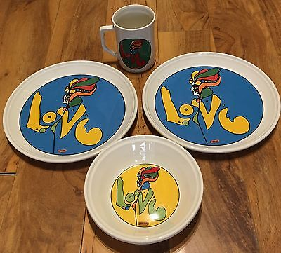 Vintage Peter Max Psychedelic Iroquois Love Dishes