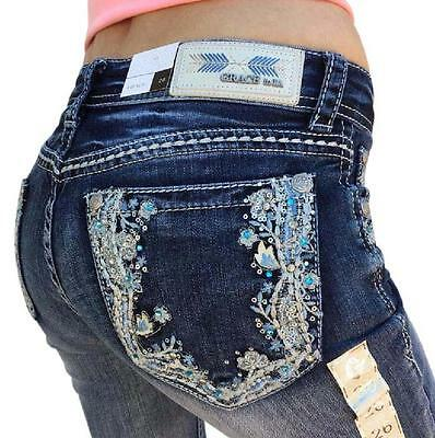 GRACE IN LA Boot Mid Rise Easy Bootcut Embellished Jeans 26 27 28 29 30 31 32