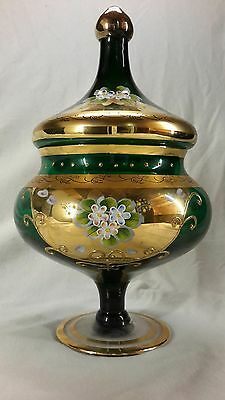 Green Gold Czech vase with lid  (sc10)