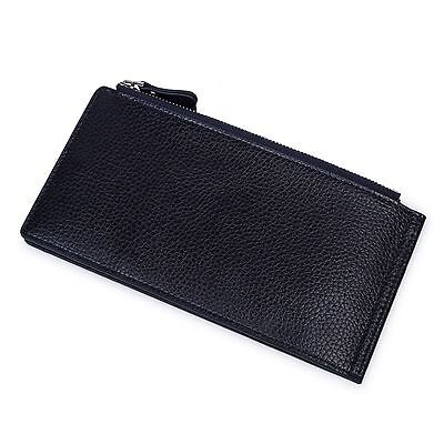 Blue Fashion Men's Zipper Holder Case Pocket Long Wallet Leather ID Credit Card