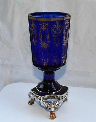 Ex Rare Cup Cobalt Glass & Silver  Lion Supported  Desing Gold Painted